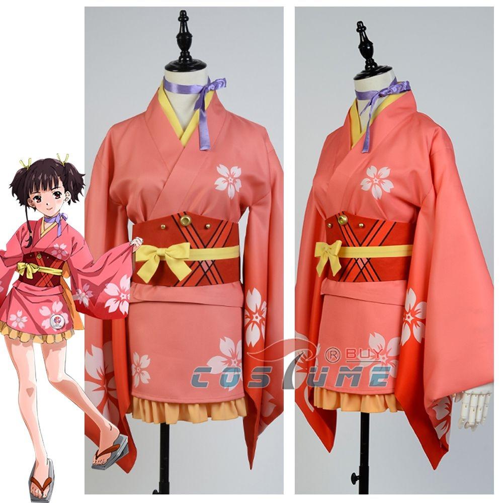 2016 Kabaneri of the Iron Fortress / Koutetsujou no Kabaneri Mumei Cosplay Costume Yukata Kimono Robe Custom Made