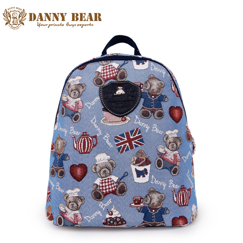 DANNY BEAR Teenager Girl Blue Small Backpacks Causal Students School Backpack Brand Designers Shoulder Daypack Women Back Pack