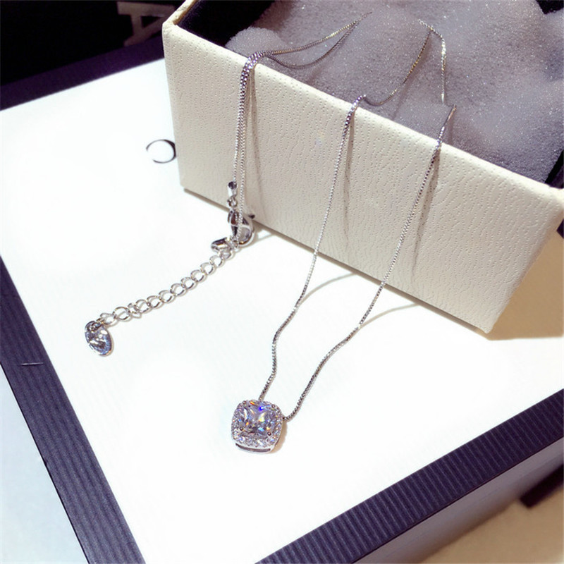CX-Shirling High Quality Short Necklace for women square zircon pendant necklaces rhinestone Clavicle chain