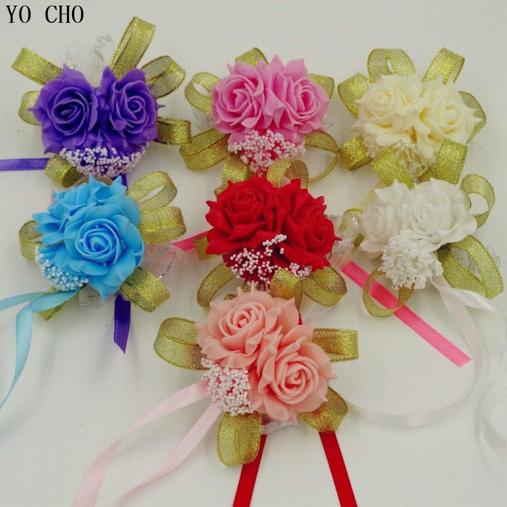 Fashion White purple pink Handmade Brides Bridesmaid Flower Wedding Bouquet Hand Flowers Wrist Corsages