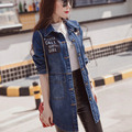 5XL Plus Size Women Denim Trench Casual Letter Turn-down Collar Single Breasted Long Trench Coat Blue MYNZ83