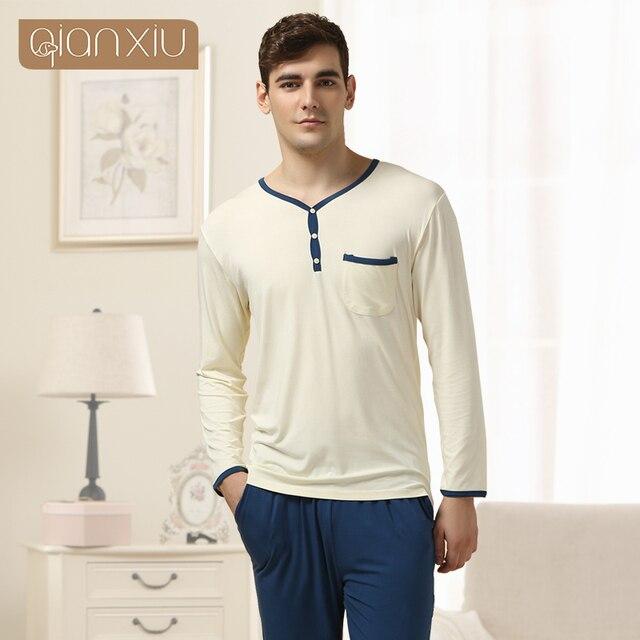 Qianxiu Brand Pajama Fashion show  V-neck Modal Pajama Set Men Underwear Plus Size Home Wear