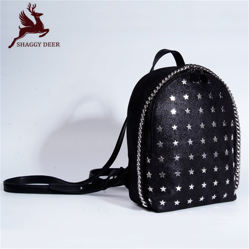 2017 Shaggy Deer PVC Star Style Chain Shoulder Bag Fashion Five-pointed Star Rivets Stella Chain Backpack mini gray shaggy deer pvc quilted chain bag with cover real picture