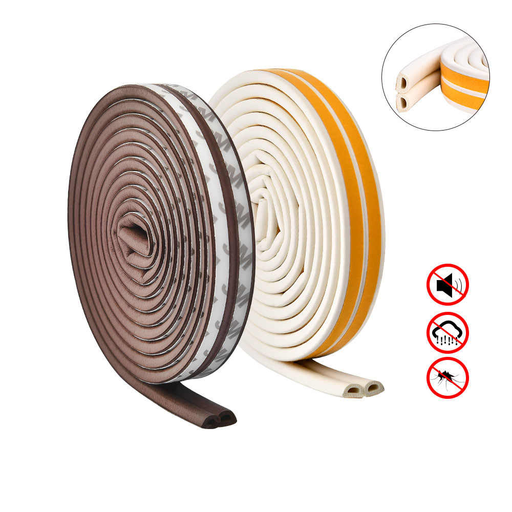 D Type Foam Rubber Door Seal Self Adhesive Weatherstripping Draught Excluder Strong Sticky Sound Insulation Window Door Sealing