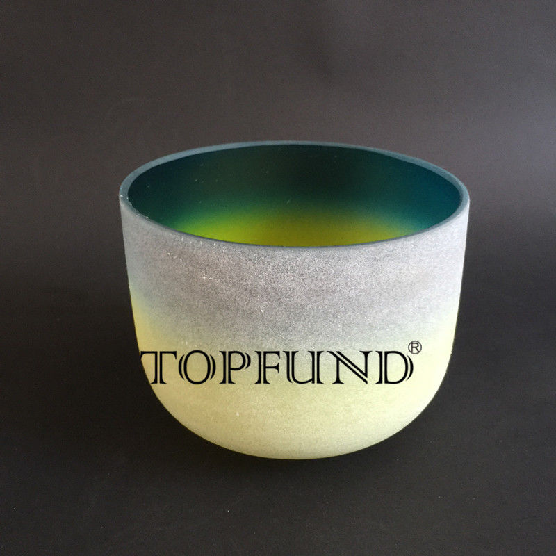 TOPFUND Rainbow Color A Third Eye Chakra Frosted  Quartz Crystal Singing Bowl 10 With Free Mallet and O-Ring 8 indigo color a third eye chakra frosted quartz crystal singing bowl with free suede and o ring