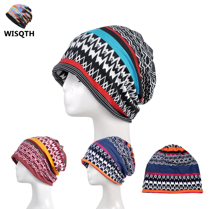 WISHQTH Brand 2017 Autumn Lace Beanies for Women Strip Hats Female Slouch Caps Beanie Hat female caps for autumn