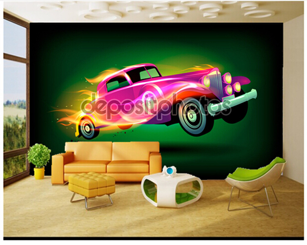 Custom papel DE parede para quarto Fire car murals for children room sitting room wall papel DE parede vinyl which wallpaper custom papel de parede infantil space shuttle orbiting earth 3d cartoon mural for children room bedroom wall vinyl wallpaper