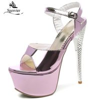 SGESVIER 16cm Ultra High Heel Sandals Shoes Sexy Stripper Shoes Party Summer Thin High Heel Platform Sandals Ladies Shoes OX352