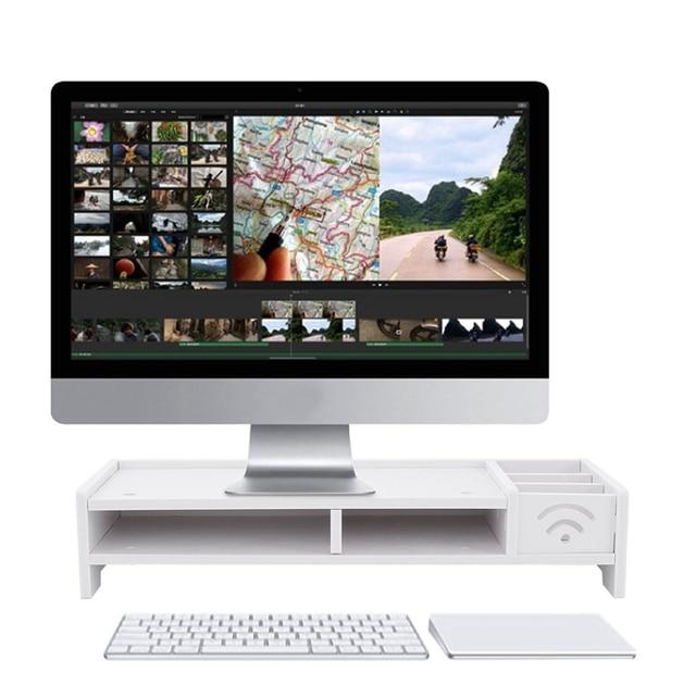 Multi Function Desktop Monitor Stand Computer Screen Riser Wood