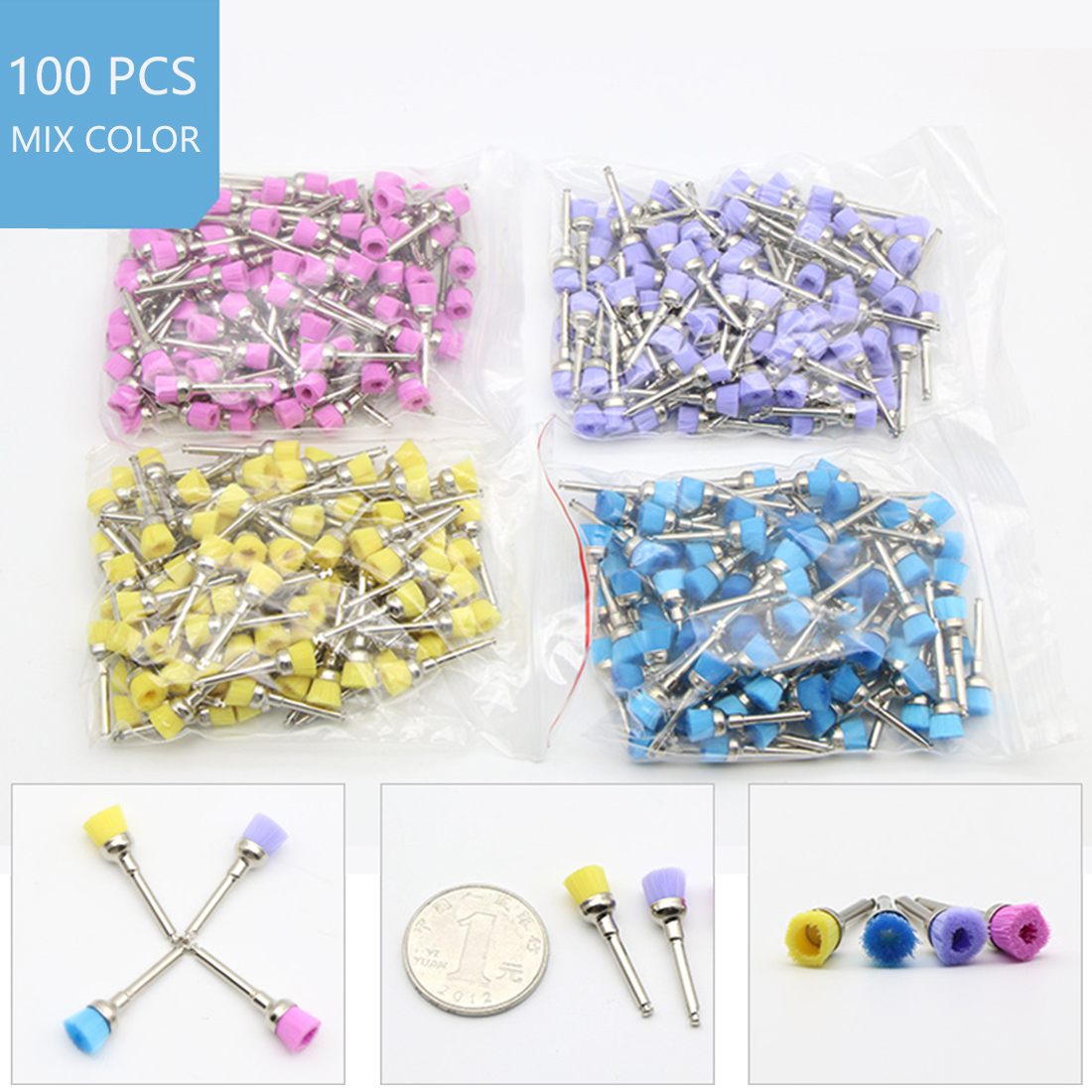 100Pcs/lot Dental Lab Materials Colorful Nylon Latch Small Flat Polishing Polisher Prophy Brushes Dentist Product Wholesale Tool