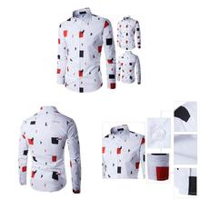 2019 Hot Men's Shirt Lapel Long Sleeve Printing Casual Front Button Slim For Business Party PO66 цена 2017