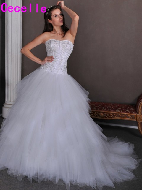 2017 Real Pictures Princess Ball Gown Wedding Dresses Gowns Strapless Beaded Ruffles Tulle Bridal Sexy