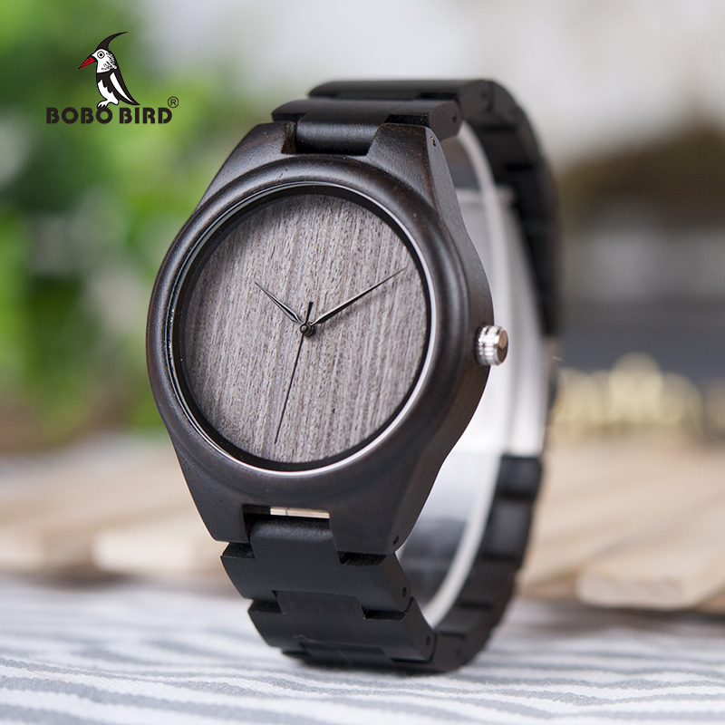 BOBO BIRD V-H06 Oem Watches Men Black Sandal Wood Grey Plain Dial Wooden Leather Strap Available relogio masculino de luxo yuneec typhoon h rtf black grey гексакоптер