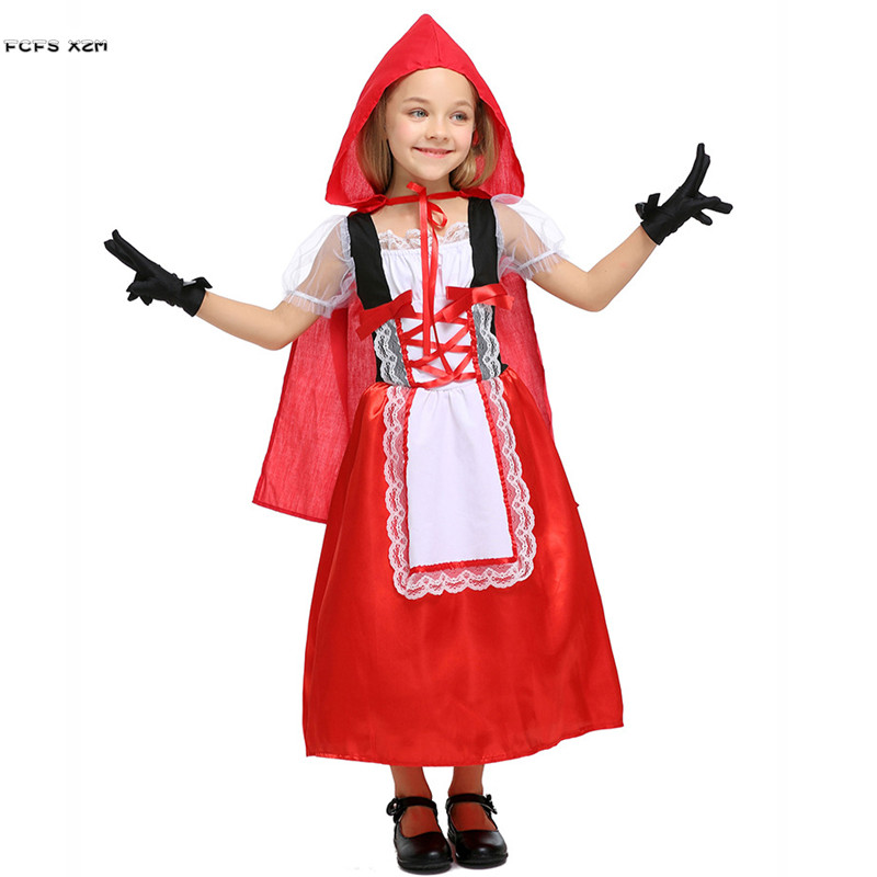 Girls A fairy tale Little Red Riding Hood Cosplays Kids Halloween Anime Costumes ChildrenPurim Stage play Masquerade party dress