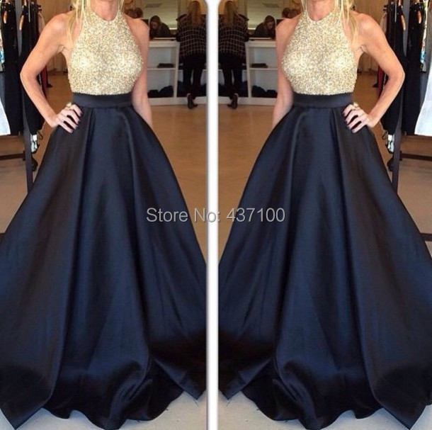 Elegant Halter Sequins Gold Black Prom Dress 2015 line Plus Sizes Long Formal Evening Gowns - Lovestory Store store
