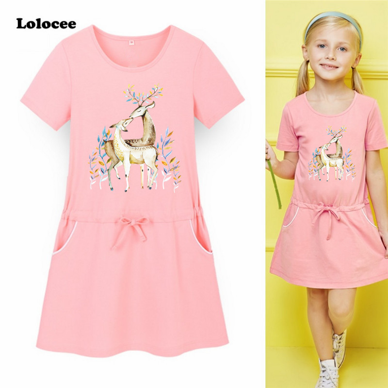 Kids Dresses for Girls 2018 Summer New Baby Girls Clothes Cotton Cute Deer tulle Sport Dress Sweet Princess Party Costume new flowers summer toddler girls dress 2016 cute kids dresses for girls princess costume for party birthday baby girl clothes
