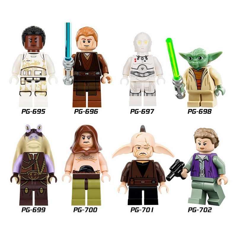 ขายเดียว Star Wars Luke Skywalker Qui - Gon Jinn Death Star หุ่นยนต์ Mace Windu Princess Leia อาคารบล็อกเด็กของเล่น