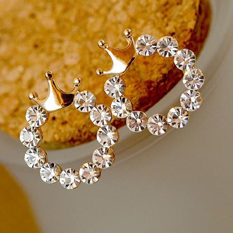 Vintage Crown Earrings For Women Luxury Jewelry Round Heart Gold Earring Wedding Fashion Jewelry Gift