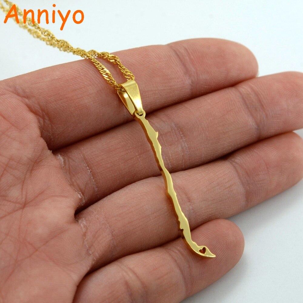 Anniyo Carte Du Chili Pendentif Colliers Or Couleur Charme République du Chili Bijoux Chilien Cadeaux #008221