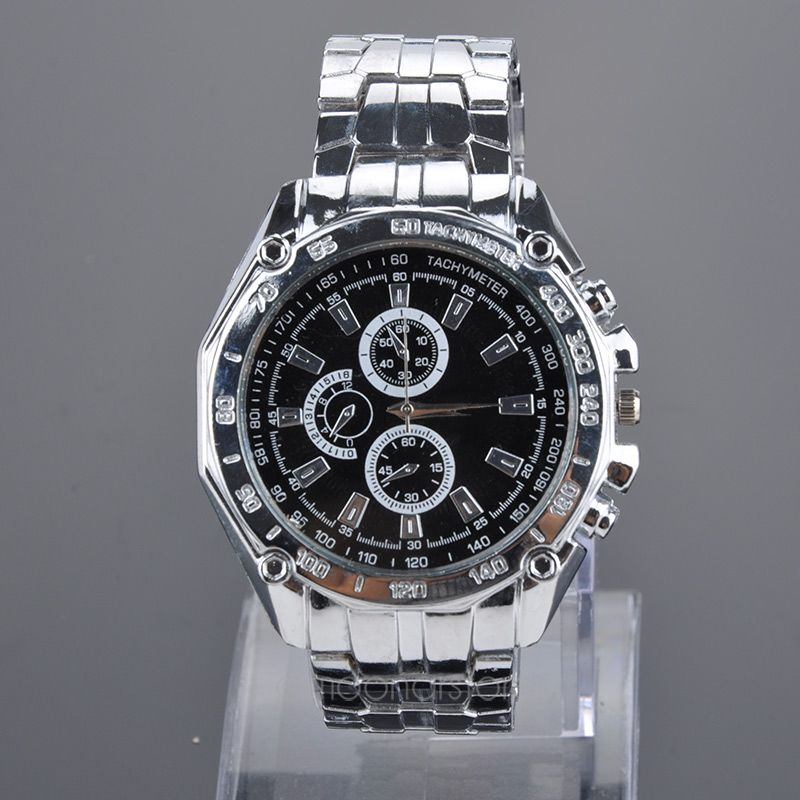 Mens Stainless Steel Band with Three Decorative Sub-Dials Quartz Wrist Watch Wristwatches curren 8138 men s dual display watch with leather band 3 sub dials