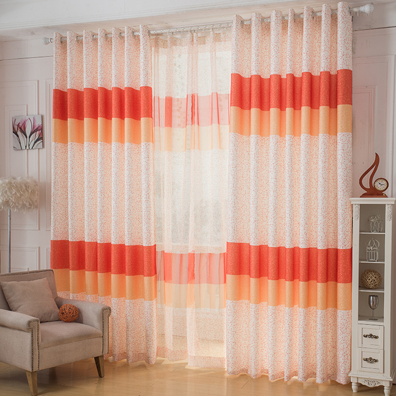 Free Shipping 1 Meter Modern Printed Design Orange Blue Colth Voile Sheer Panel Tulle