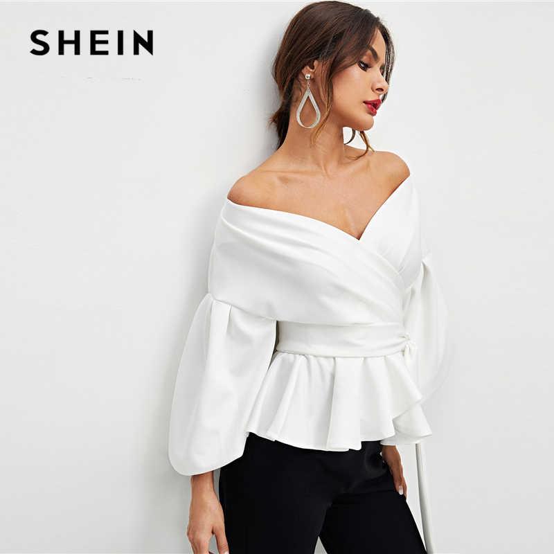 SHEIN Weiß Büro Dame Elegante Laterne Hülse Chorhemd Schößchen Weg Von der Schulter Solide Bluse Herbst Sexy Frauen Tops Und Blusen