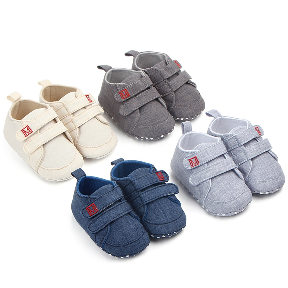 Cartoon Baby Boys Girls Canvas Toddler Sneaker Anti-slip First Walkers Shoes 0-18 Months Happy