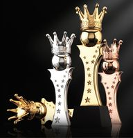 High quality!Crown Shaped Metal Trophy With a Customized Crystal Base For Athletics Champions Award Cup Trophy Sport Souvenirs