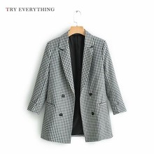 American Jacket Woman Blazer 2019 Plaid Women Double Breasted Black White Casual Blazers Jackets Femle Caot