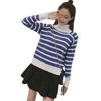 Autumn And Winter New Leisure Time Half A Stripe Easy Knitting Sweater Female Fashion Korean Student