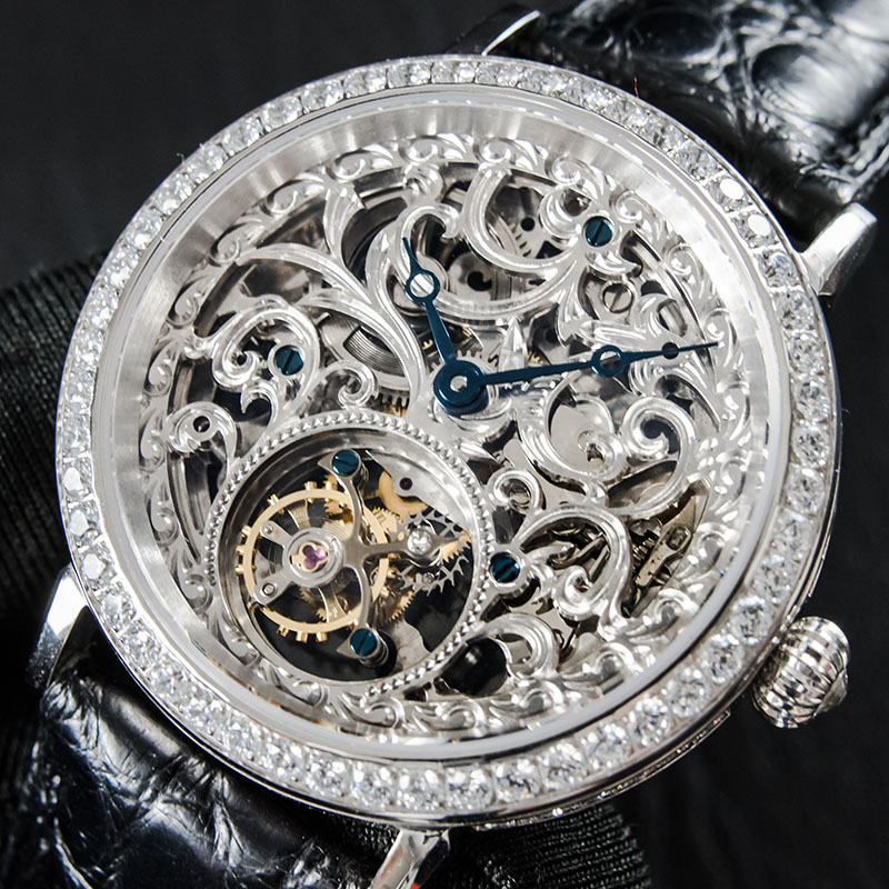 Reloj Tourbillon Esqueleto de lujo de alta gama para hombre, reloj mecánico de diamantes, relojes mecánicos para hombre, reloj Tourbillon Real montre-in Relojes mecánicos from Relojes de pulsera    1