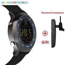 Relógio inteligente EX18 IP68 À Prova D' Água 5ATM Passometer Lembrete Mensagem de Espera Ultra-longa de Natação Esportes Atividades Rastreador + Fone de Ouvido