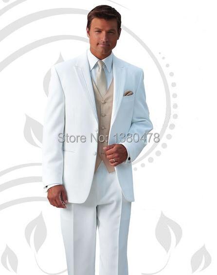 Custom Made 2 bouton Groom Tuxedos blanc meilleur homme revers en pointe  Groomsman homme mariage   dîner costumes epoux veste + pantalon + cravate +  gilet 84c34bdc6dff