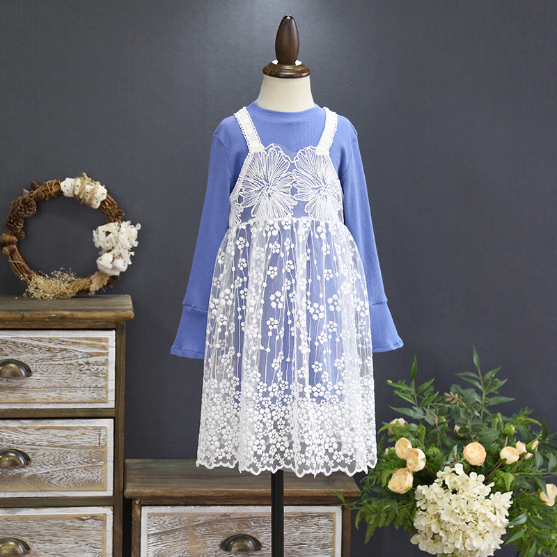 2018 girls spring new lace embroidered dress cotton long-sleeved dress children two-piece suit