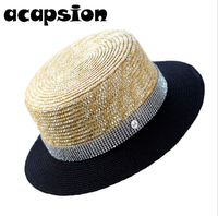 Acapsion Woman Straw Sun Hats Rhinestone Crystal Straw Caps Short Brim Letter M Panelled Sun Panama Hat Summer Women Beach Hat