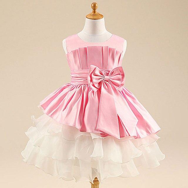girls dresses summer 2015 white Big bow Wedding flower girl party ...