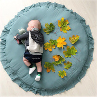 D Children Baby Game Mat Play Crawling Blanket Sleeping Pad Sitting Cushion Round Lace Mat Super Soft Rug Bedroom Decoration