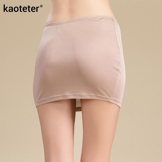100% Pure Knit Silk High Quality Women Half Slips Simple Thin Sexy Elastic Waist Slim Underwear Breathable Slip 3 Colors