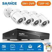 SANNCE 4CH 720P Video Security System 1080N 5IN1 DVR With 1.0MP 1200TVL Weatherproof Outdoor Bullet White Camera Home CCTV Kit