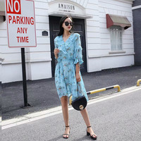 Summer new fashion garden wind ruffled chiffon print five point sleeve dress female, thin section was thin V neck dress MS