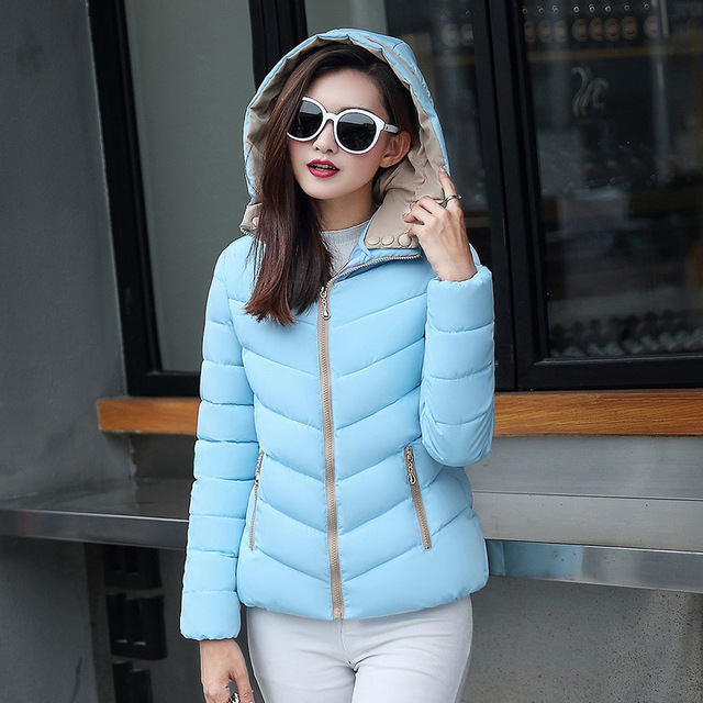 2018 full cotton liner zipper solid new arrival slim cotton jacket zippers cotton-padded winter women coat