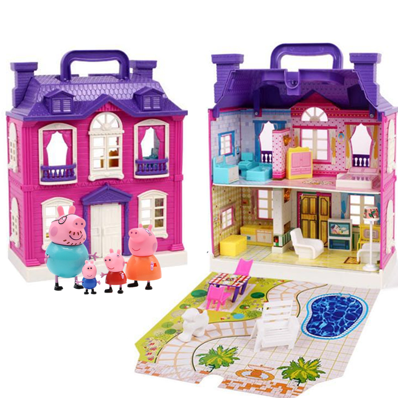 Peppa Pig George Toys House Dolls Set Action Figure Original Anime Toys For Children Cartoon Family Friend Party Dolls Birthday