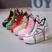 2019 New Fashion Autumn Women Shoes High Platform lace up comfortable Hidden High Heels 11 cm Female Sneakers Pink Green Red