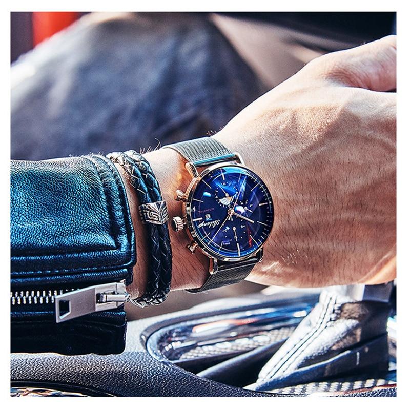 Image 5 - AILANG Для мужчин механический автоматический модный топ Брендовые спортивные часы Tourbillon Moon Phase Нержавеющаясталь часы мужской часы-in Механические часы from Ручные часы on AliExpress