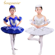 Kids Sequined Swan Lake Ballet dance Costumes Professional Tutu dancing Dress Girls Ballroom Stage wear Dance