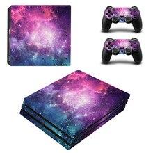 שמי זרועי הכוכבים ויניל מדבקת עור מגן עבור סוני פלייסטיישן 4 פרו משחק קונסולה + 2PCS בקר עור מדבקות כיסוי עבור PS4 פרו
