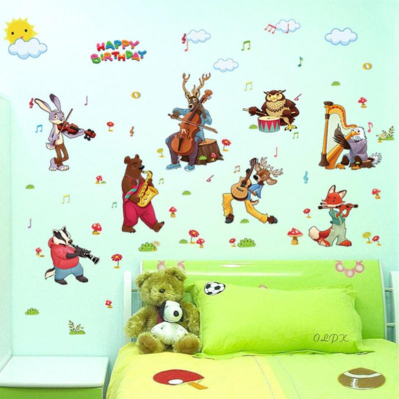 Cartoon Animal Birthday Band Wall Sticker For Kids Rooms