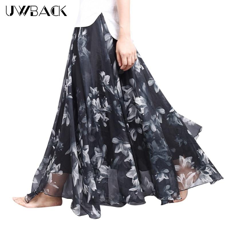 Uwback Women Chiffon Skirt Floral Floor Length Women Long Maxi Skirts Loose Boho Beach Skirt 2018 New Summer Fashion Wear, EB129