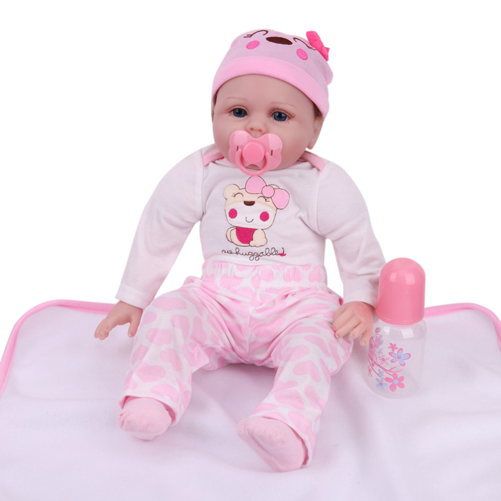 55cm Simulation Reborn Baby Doll Soft Touch Silicone Lifelike Baby Doll with Cloth Appease Accompany Toy for Infant Girl Gifts55cm Simulation Reborn Baby Doll Soft Touch Silicone Lifelike Baby Doll with Cloth Appease Accompany Toy for Infant Girl Gifts
