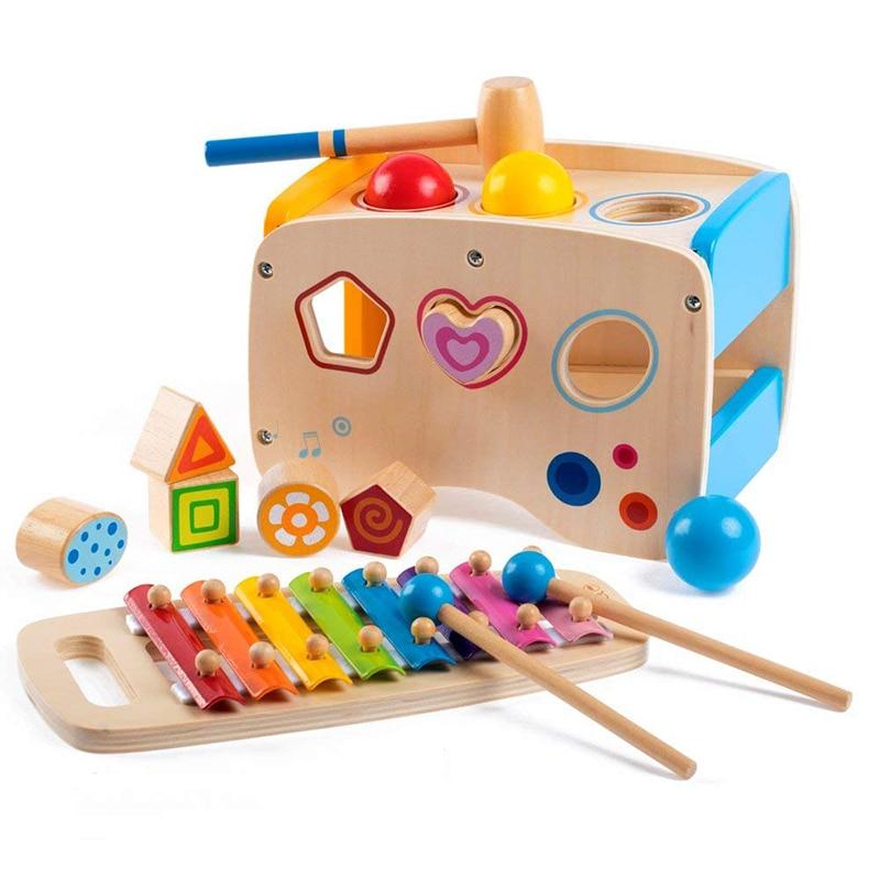 Bébé jouets multicolore Instrument de musique jouet arc-en-ciel main frapper Piano Table musique frapper sur balle apprentissage cadeau éducatif